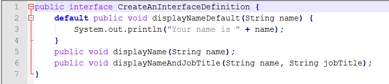 Java Source for Interface Definition