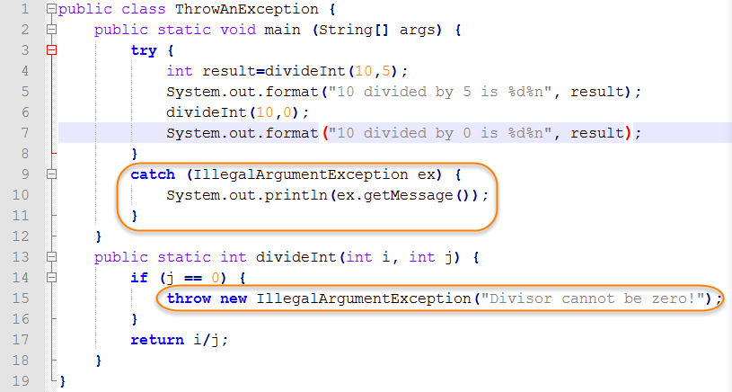 Java Source for Throwing an Exception