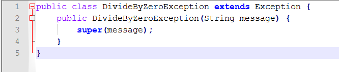 Java Source for Create an Exception Class