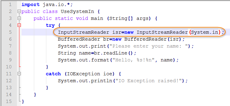 Java Source for System.in