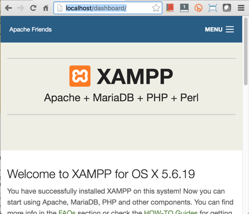XAMPP Start Page for OSX