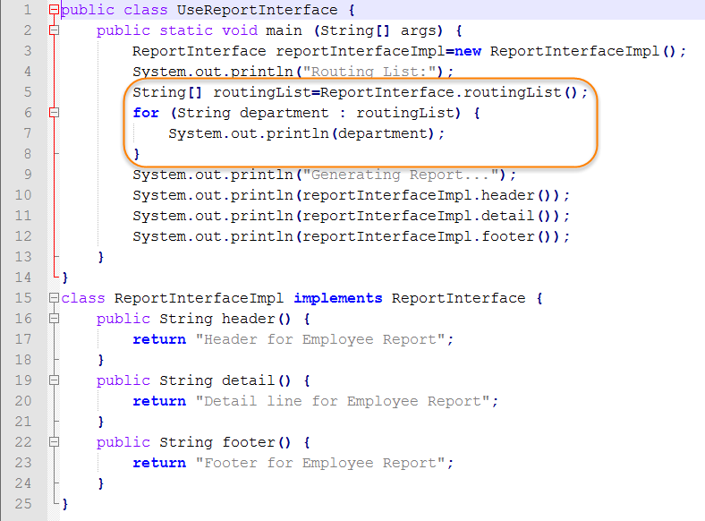 Java Source for Test Static Method Interface
