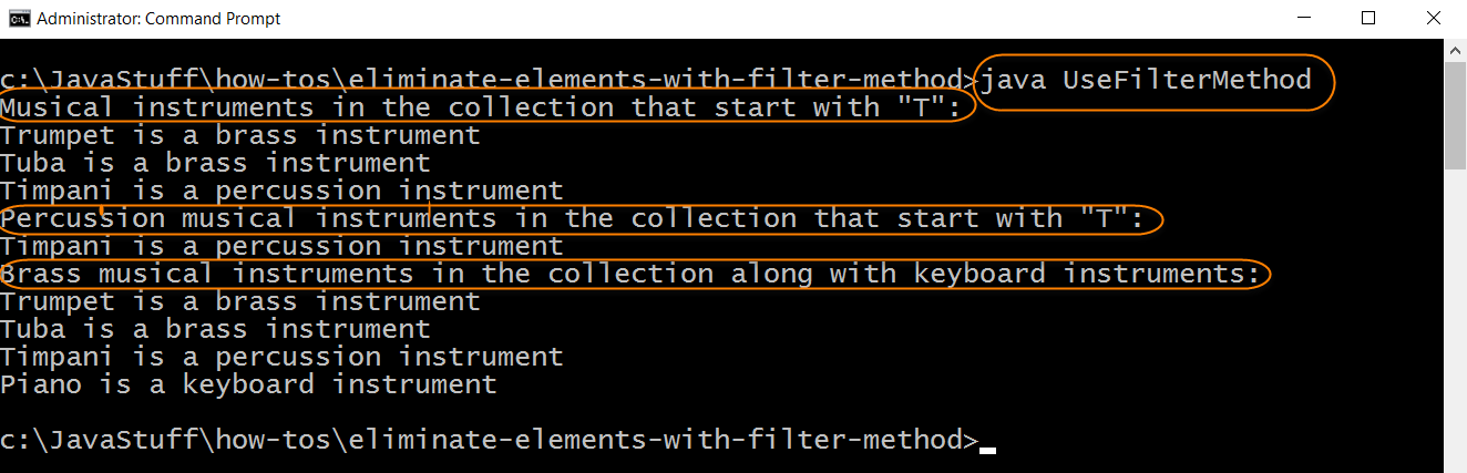 Run Program with filter Method