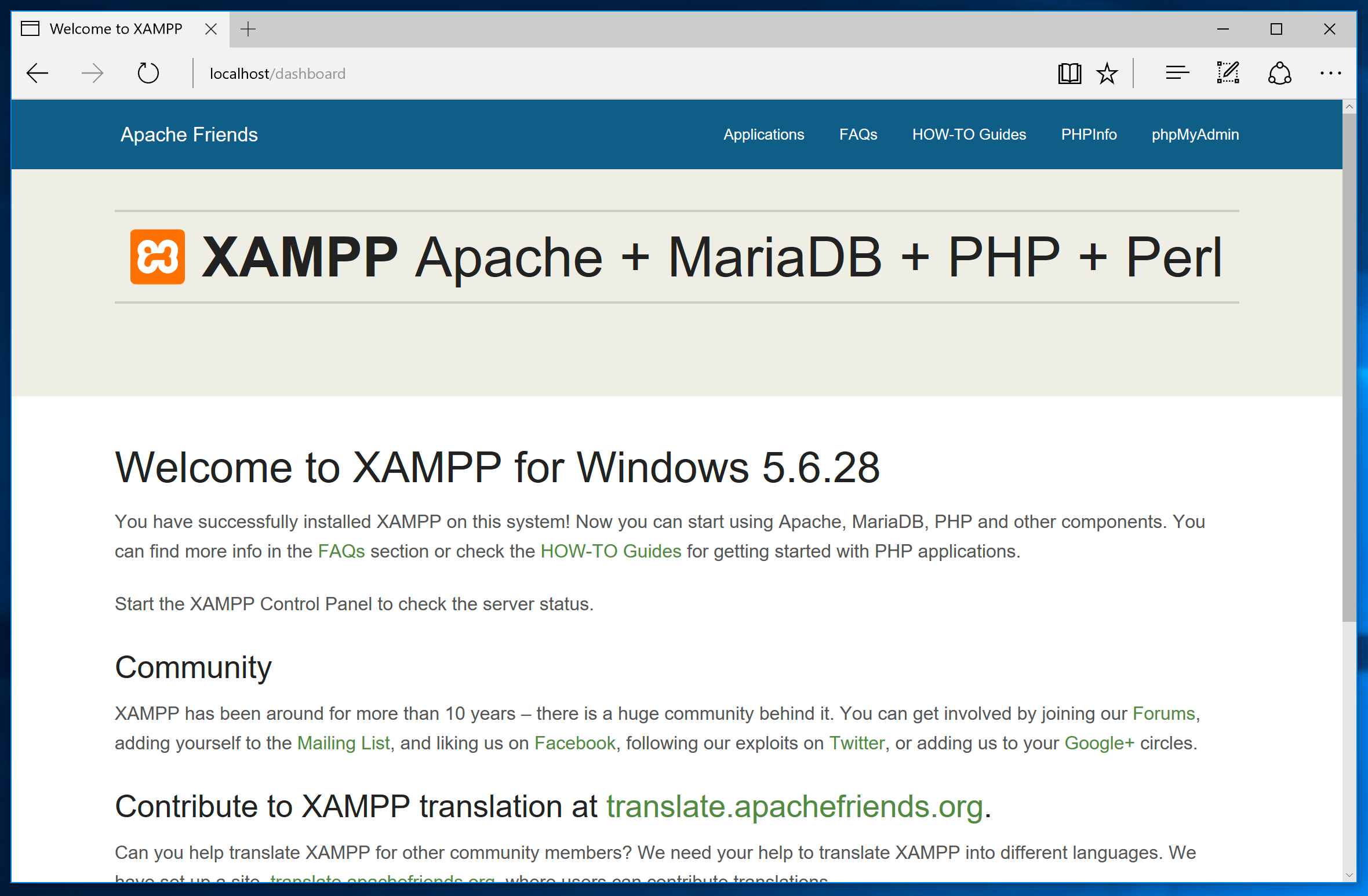 XAMPP Start Page for Windows