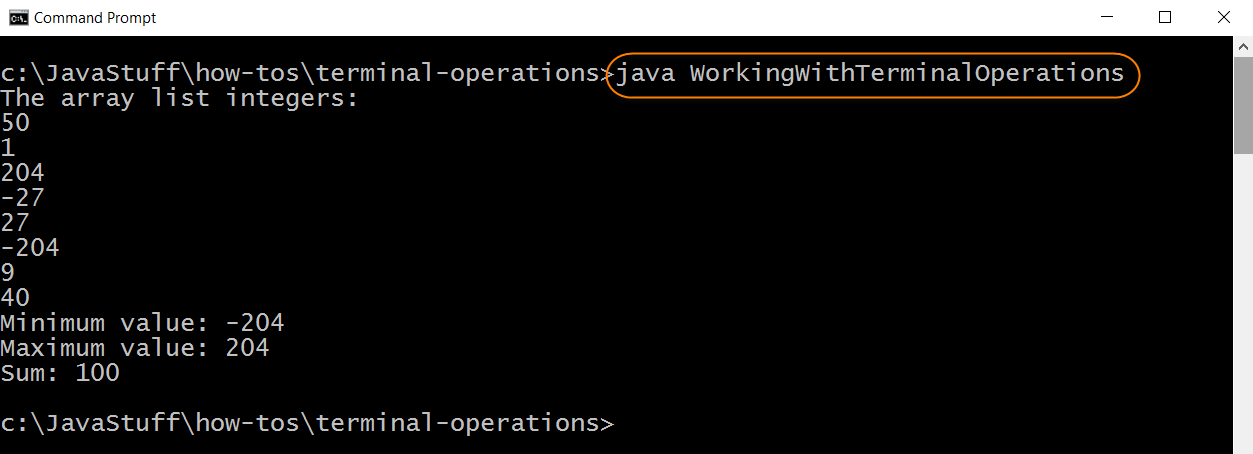 Run Program with Terminal Operations