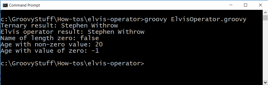 Run Elvis operator script