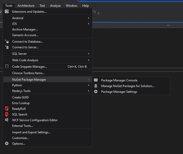 Tools-Nuget Package Manager- Package Manager  		Console
