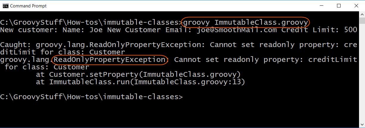 Run Immutable Class script