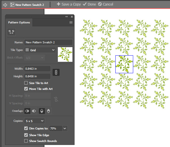 Pattern Options Panel