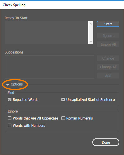 Check Spelling Dialog Box