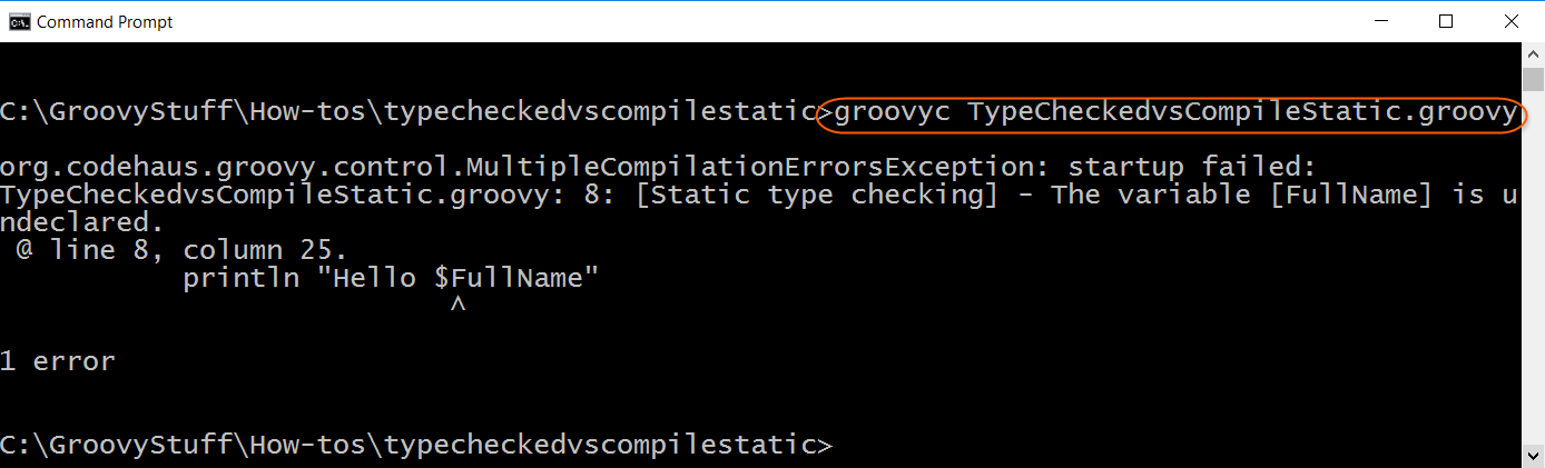 Compile script with error