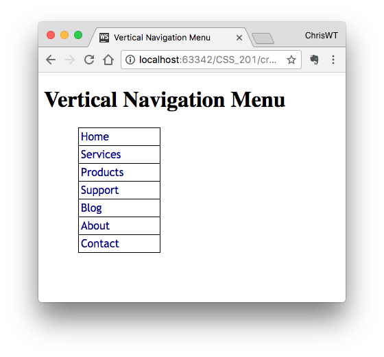 A Vertical Menu