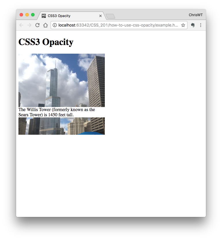 web page before applying opacity