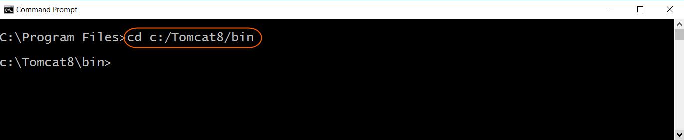 Change directory to Tomcat bin directory
