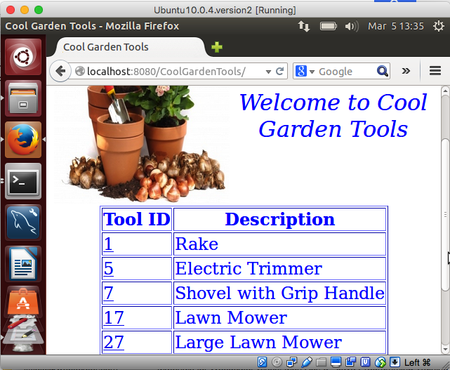 Cool Garden Tools welcome page