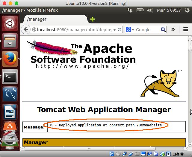Manager web app deployed