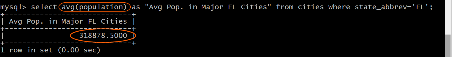 Average population FL Cities