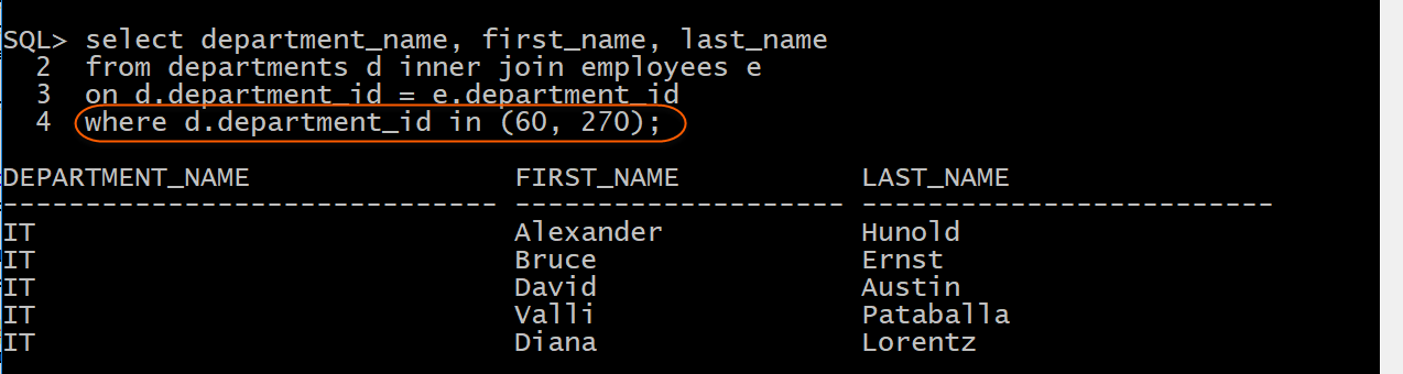 Display department name and employee name for specific departments with inner join