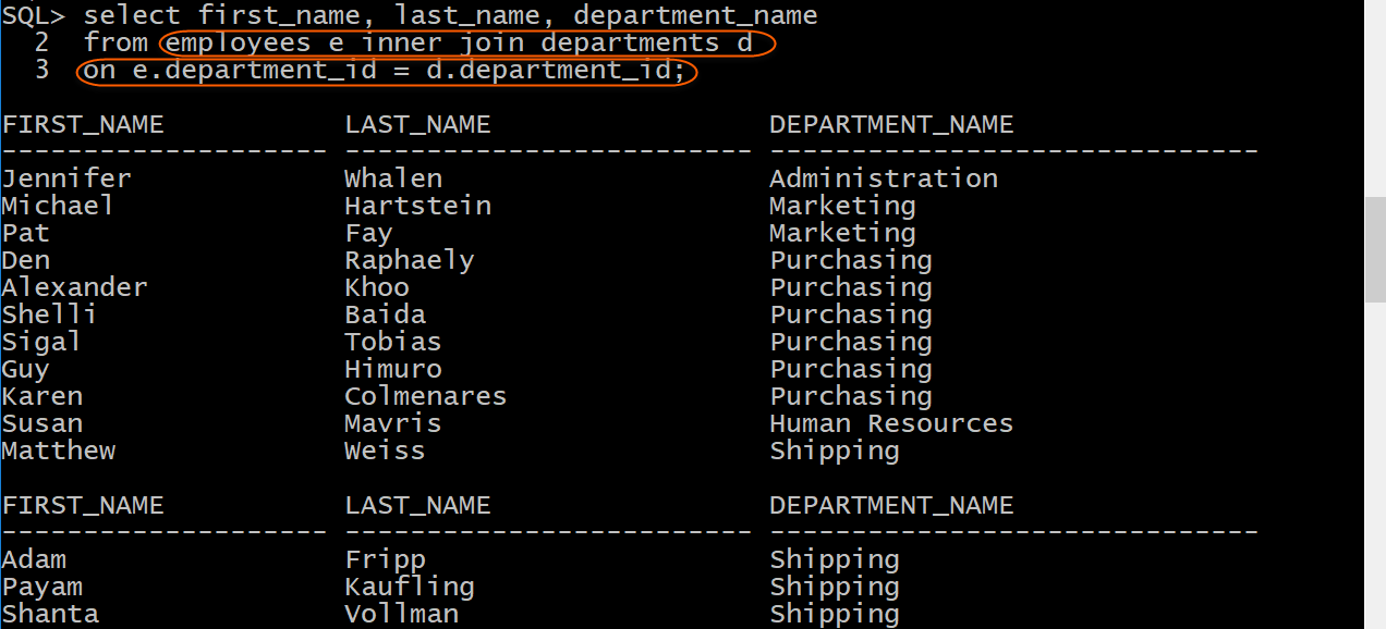 Display employees and department name with inner join