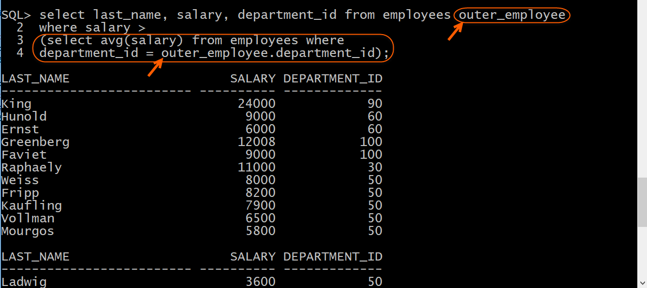 Display employees with salary greater than average salary in the same department