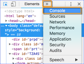 Google Developer Tools Menu