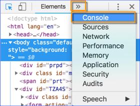 Google Developer Tools Menu