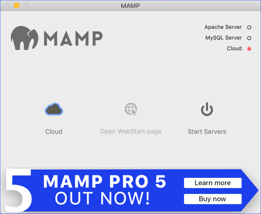 MAMP control window - Mac