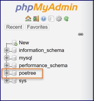 phpMyAdmin Database List