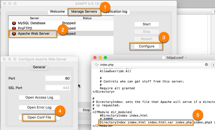 Modify the httpd.conf File using XAMPP on OSX