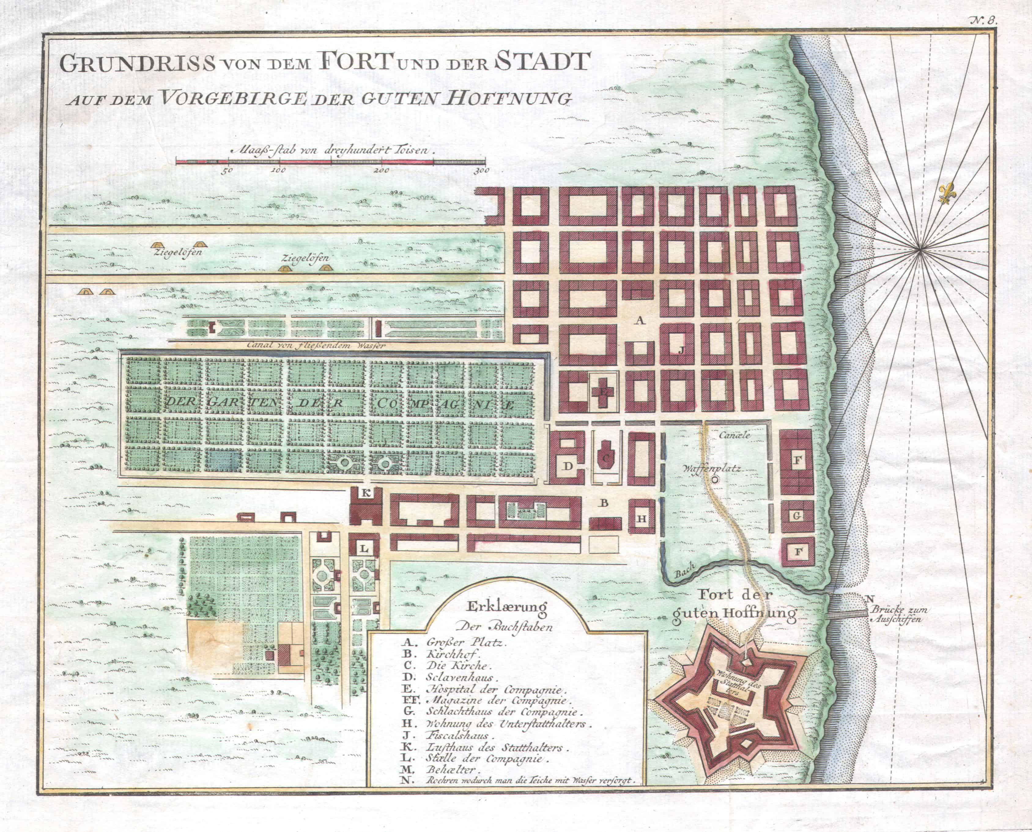 Map of Cape Town in 1750