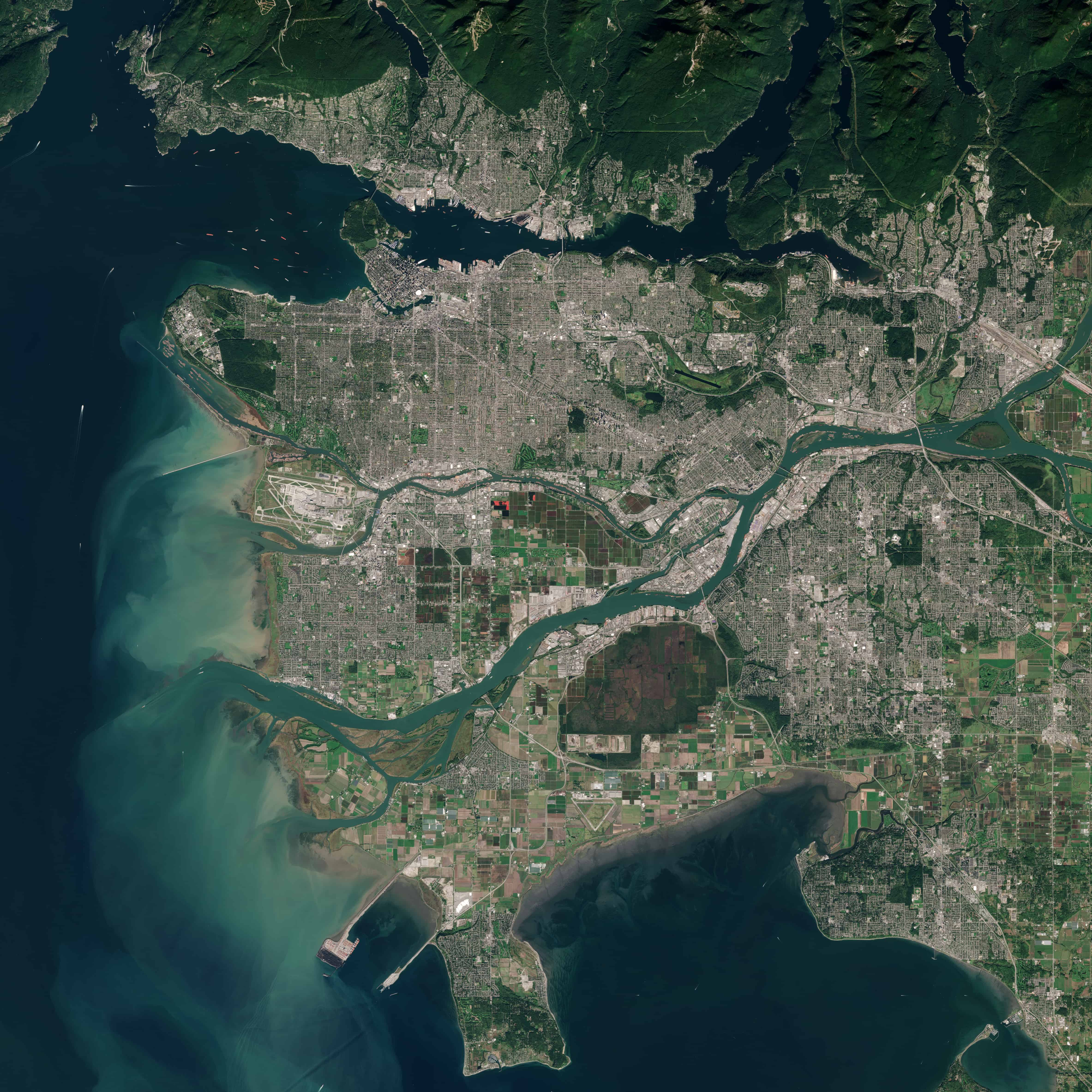 Satellite image of Vancouver