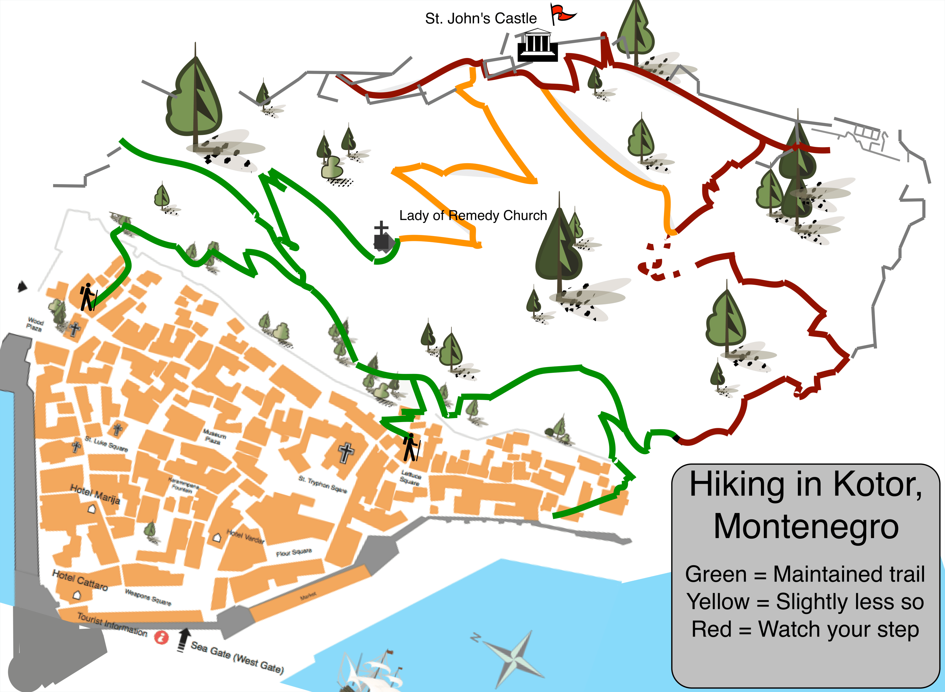 Trail Map of Kotor St. Johns Castle