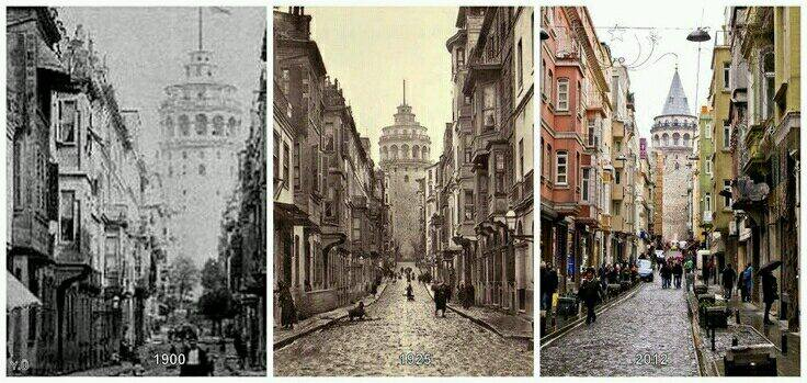 Galata Tower in a century