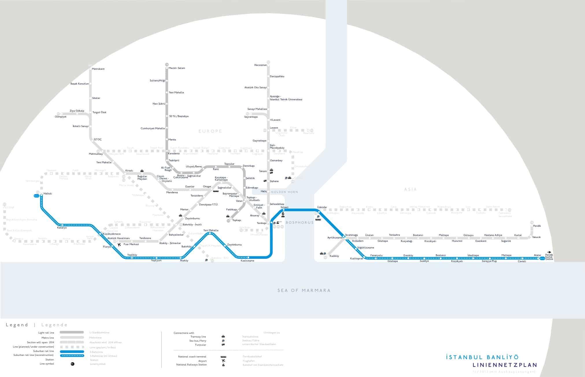 Marmaray suburban train line map