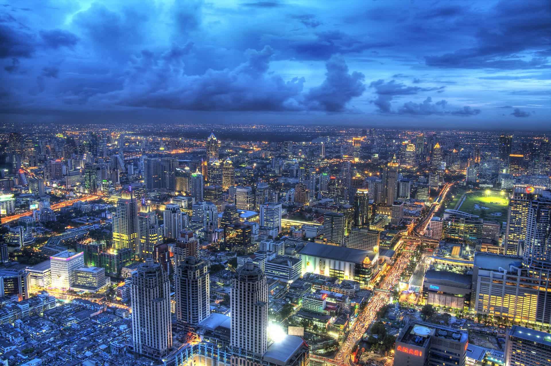 Panoramic Bangkok view from Baiyoke Sky Hotel Observation Deck