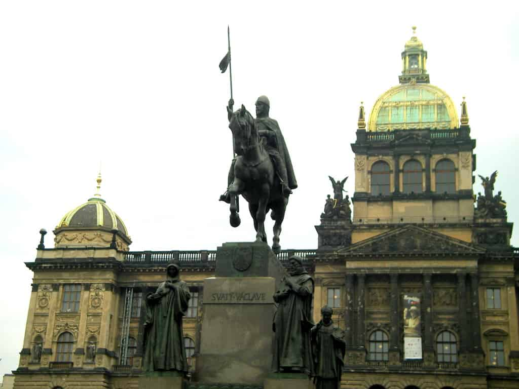 St. Wenceslas Statue on the squarewith national muesum at background