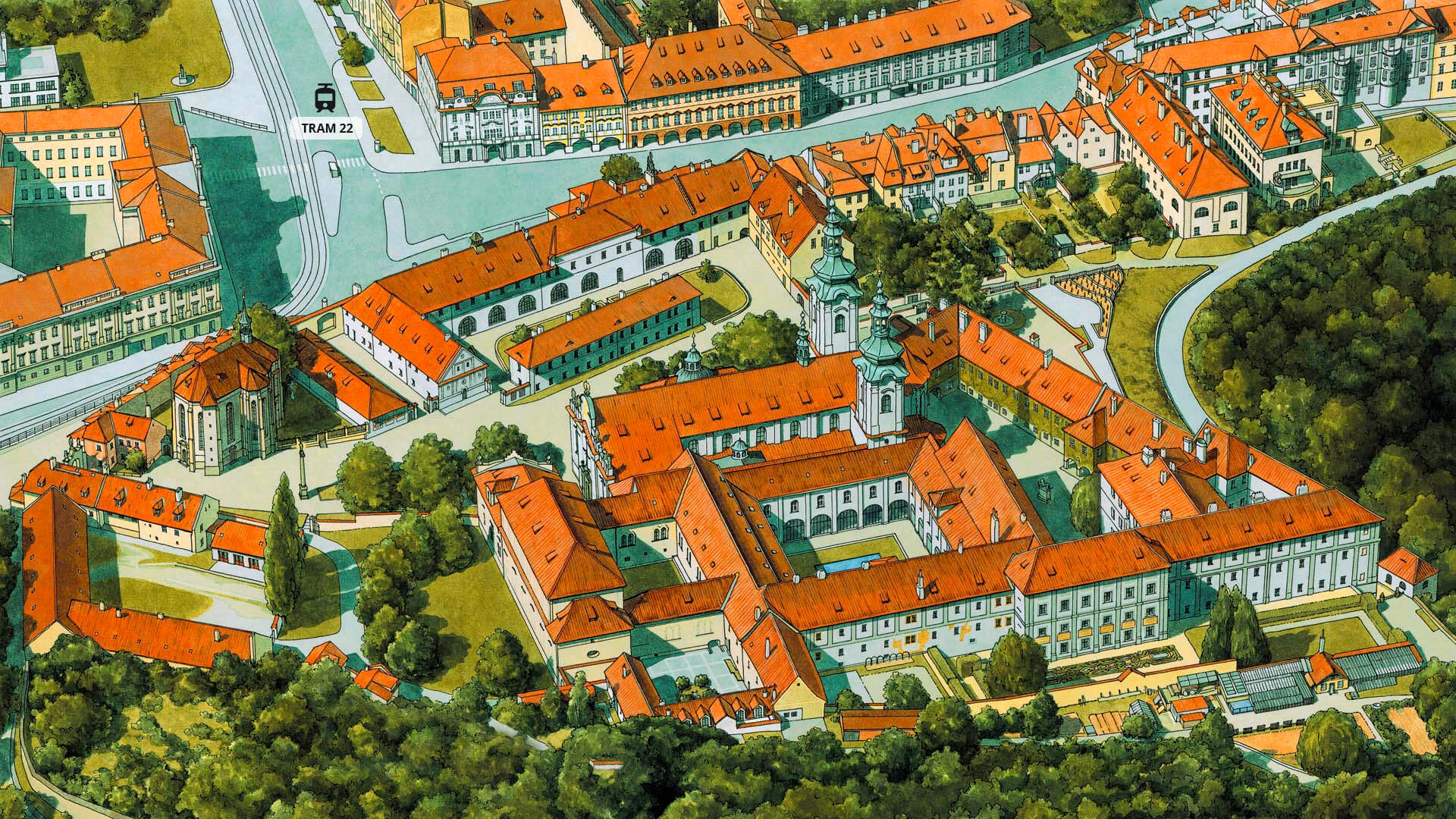 An illustrated map of Strahov Monatery