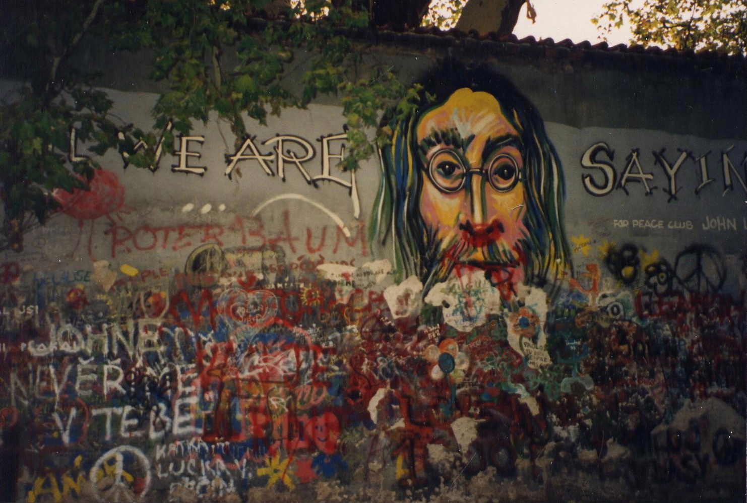 Original portrait of John Lennon over the wall in 1993