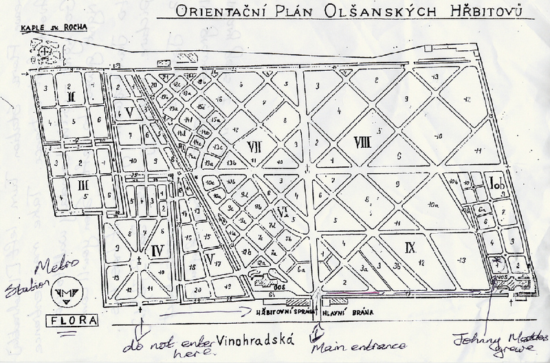 An old plan of Olsany Cemetery