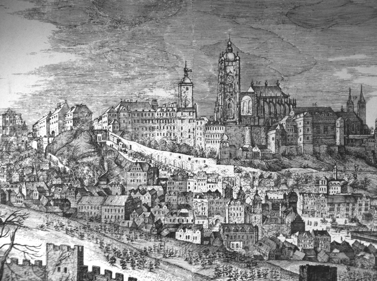 Drawing of Prague Castle in 1606