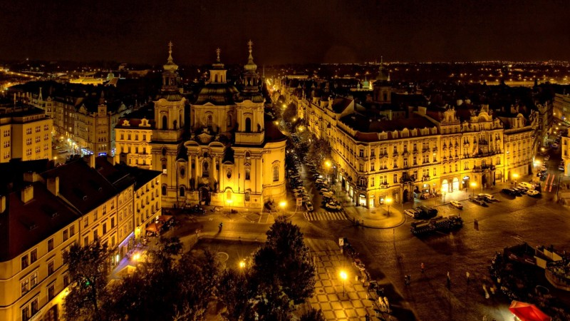 Modern Prague at night