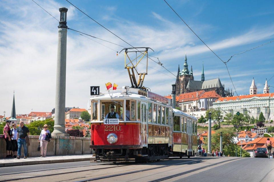 Historical tram 41 of Prague