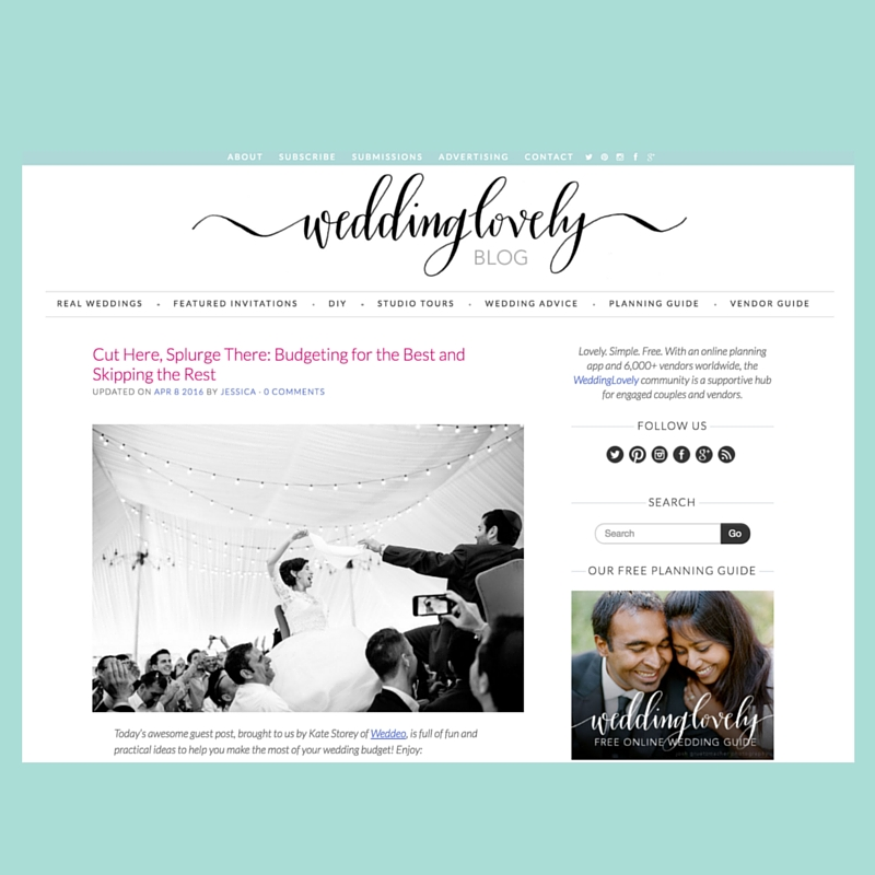 Cut here, splurge there: Weddeo guest post on WeddingLovely
