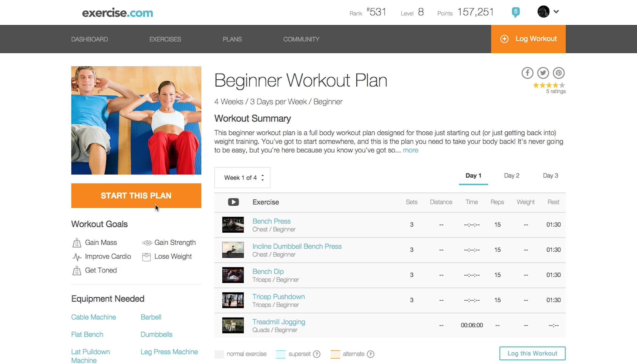 weight machine workout plan