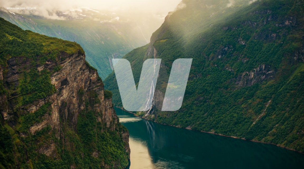 Geiranger Fjord And Steep Cliffs In Norway.