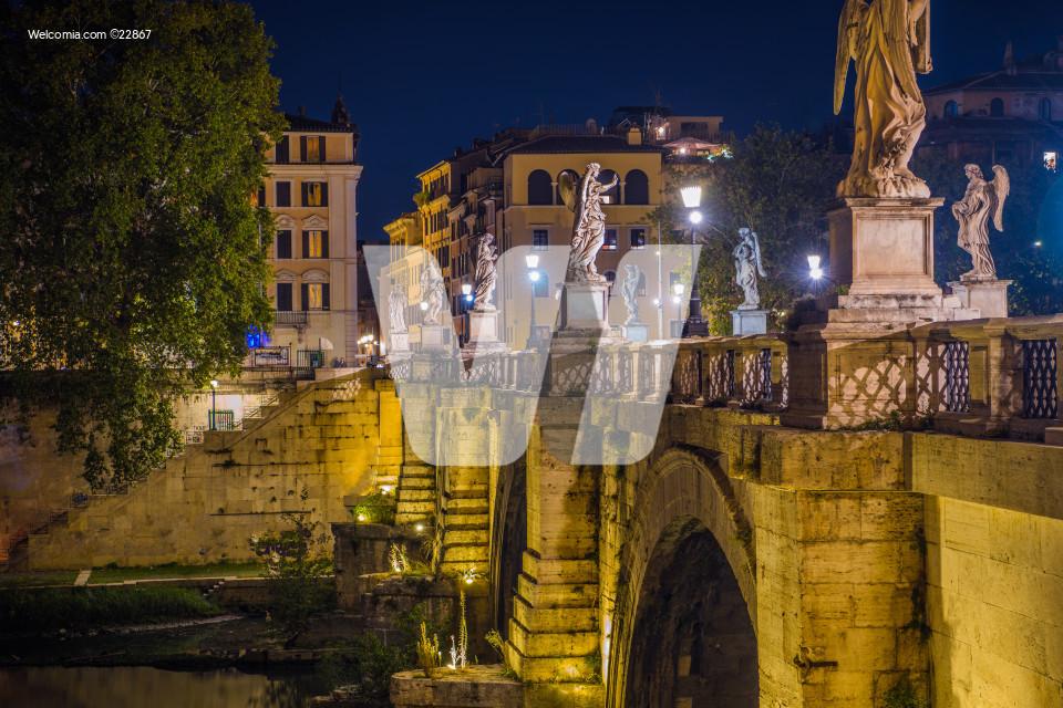 Bridge With Angel Sculptures In Rome.