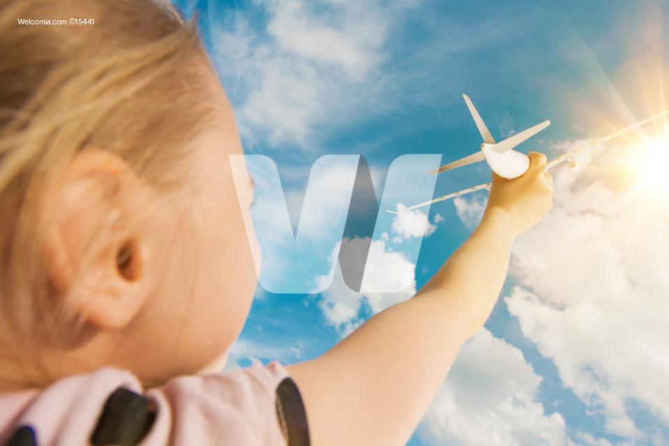 Air Travel Dreaming Girl