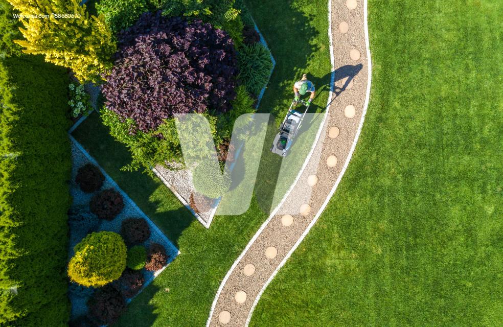 Backyard Garden Grass Mowing Aerial View