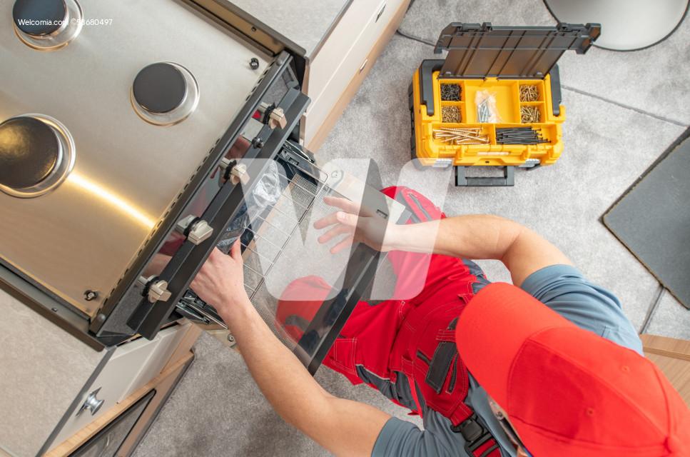 Broken RV Stove Under Professional Service