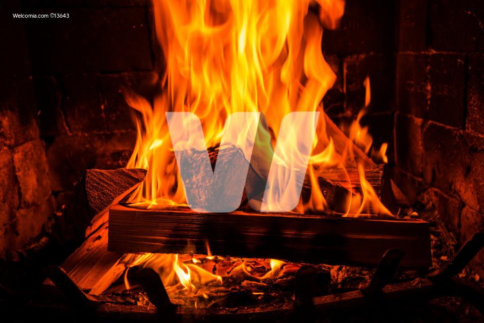 Burning Vintage Fireplace